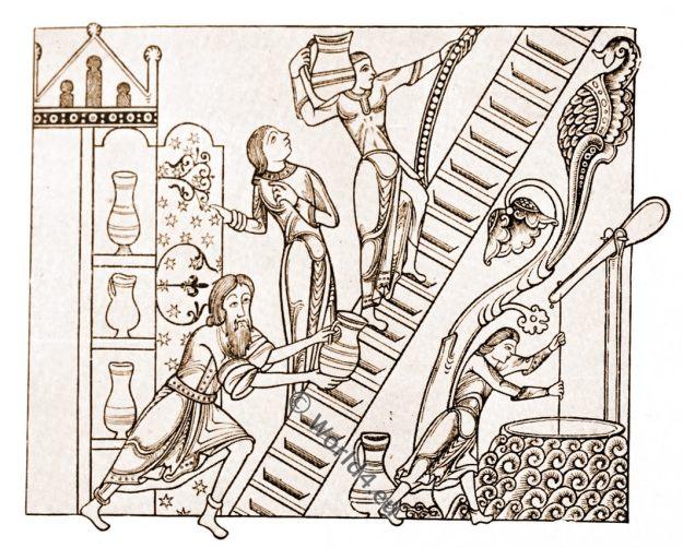 England, medieval fashion, 12th century costumes. Medieval manuscript