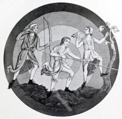 medieval England hunting costumes, 13th century fashion,
