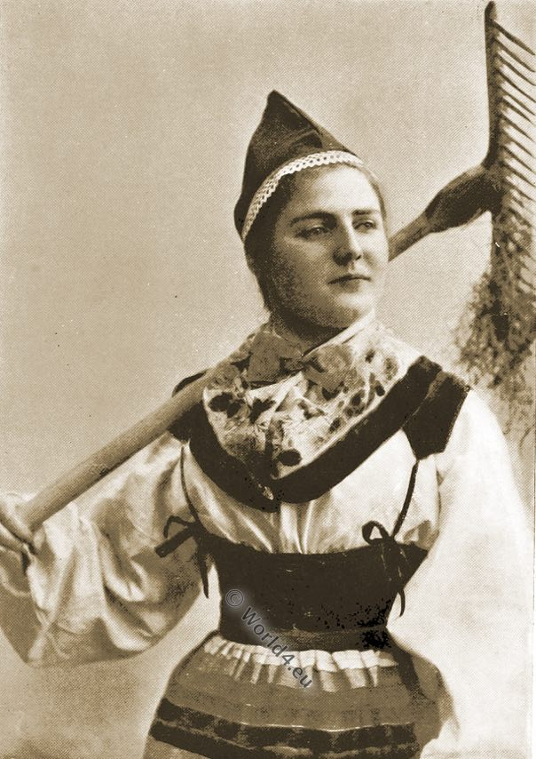 Mower maid, Maud Müller, Norway traditional costume
