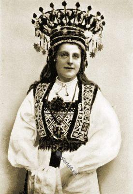 Norwegian Bride, Wedding dress. Norway traditional, national costume