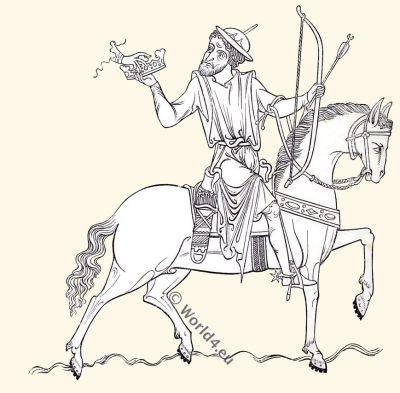 Knight, 13th century, Illuminated MS.,Apocalypse, middle ages, horse,