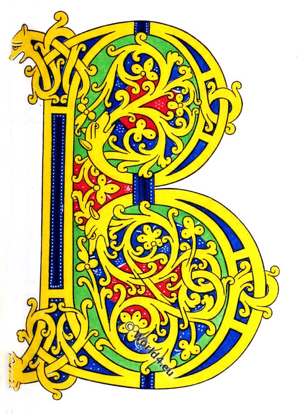Initial letter B, Medieval manuscript, Durham Book, 7th century,Henry Shaw,