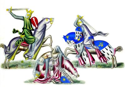 Knights fighting, England 13th century, Middle ages, combat,Henry Shaw, armour