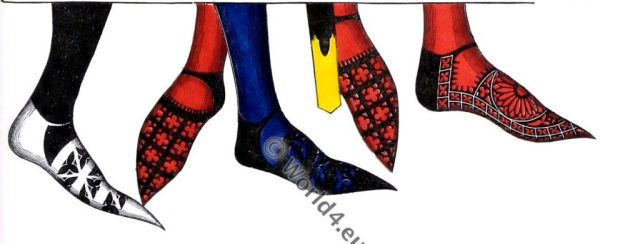 Hose, shoes, England 14th century, middle ages fashion, Henry Shaw