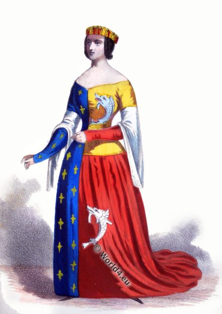 Anne Dauphine of Auvergne, Heraldic clothing, Medieval,Duchess,Arts, Culture,Fourteenth, Fleur De Lys, 14th century, costume