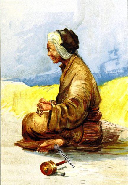 Tibet, Tibetan, Fortune Teller, 19th century, traditional, costume