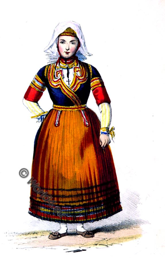 Brittany, Peasant, bride, costume, national, dress, france