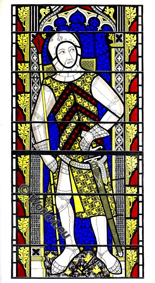 Gilbert de Clare, Earl of Gloucester, painted glass, windows, abbey church, Tewkesbury, middle ages, knight