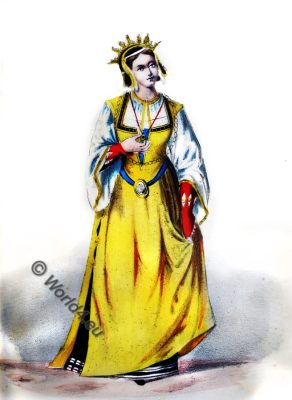 Middle ages costume 13th century, medieval, duchess