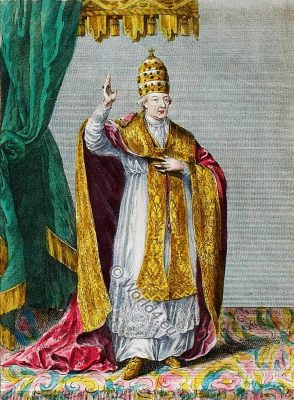 Pope Pius VI, costume, illustration, catholic, 18th, century, costume history