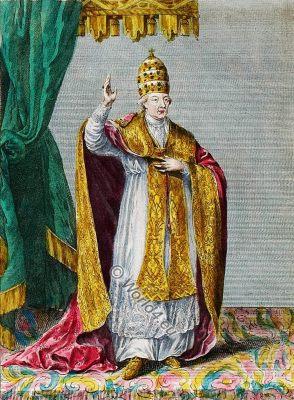 Pope Pius VI, costume, illustration, catholic, 18th, century, costume history