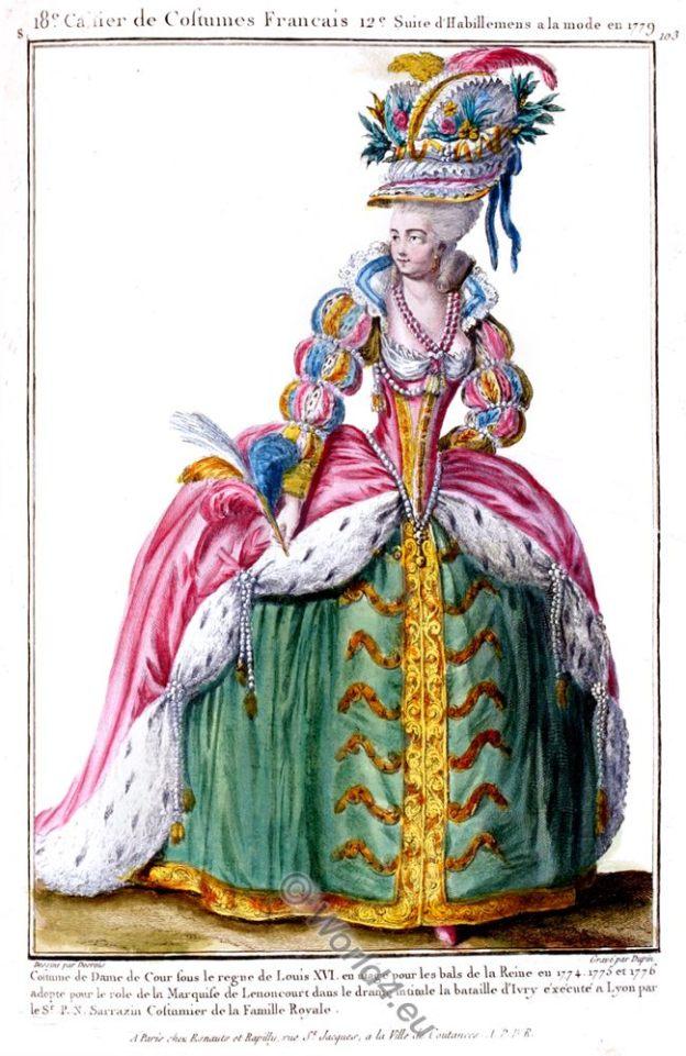 Costumes Français, Court Lady, Costume, fashion history, Louis XVI,
