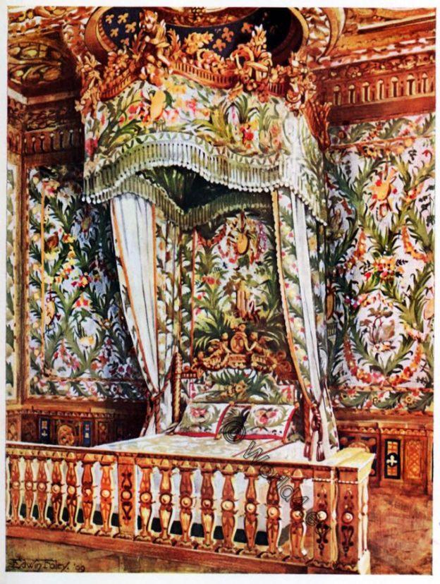 Queen, Marie Antoinette, Gilt State Bed, Rococo, furniture, Philippe de Lassale, Fontainebleau