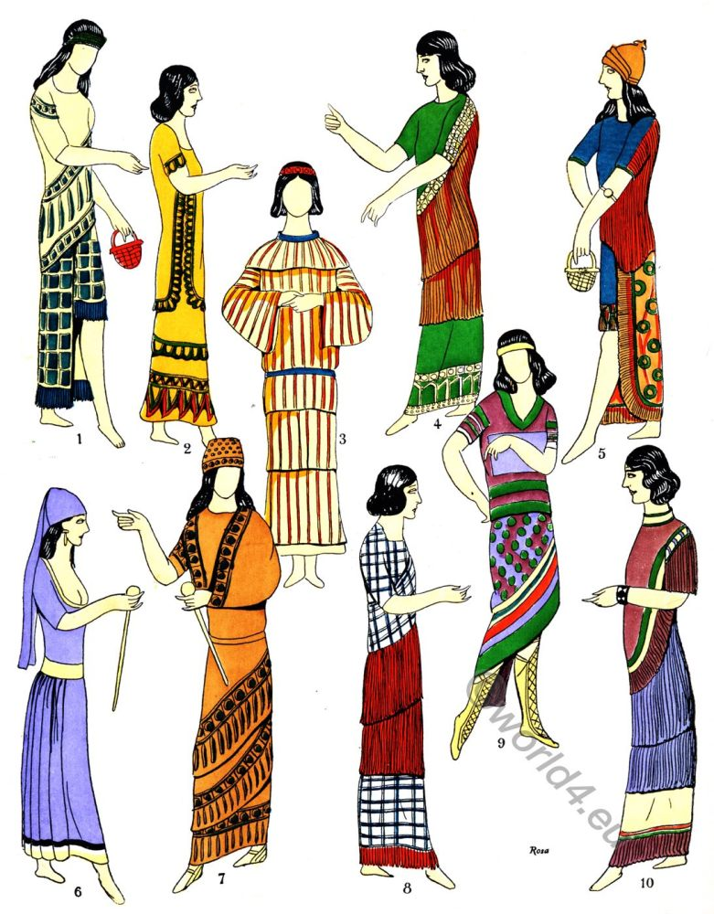 Assyria, Garments, Dresses, Ancient, costume, history, gowns, Mesopotamia, Babylonia