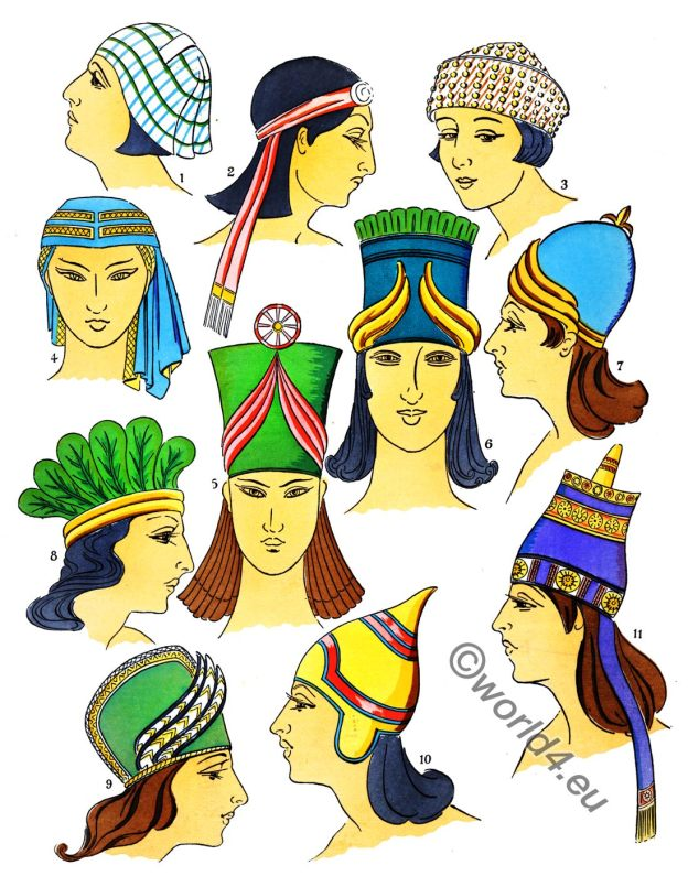 Fashion, history, Ancient, Assyrian, Coiffures, Hats, Paul Louis de Giafferri