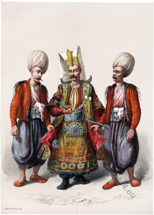 Cara Coulouktjou, Ousta, Officier, Ottoman, Turks, Empire, Costume, Caliphate, Orient, Jean Brindesi