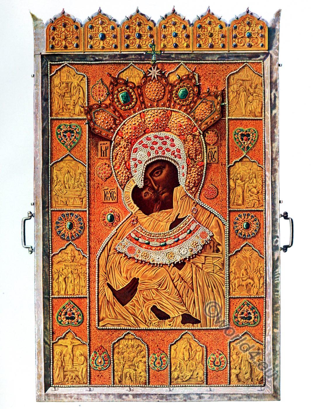 Icon,Vladimir Madonna, Byzantine, Art, Russia, WINIFRED STEPHENS,