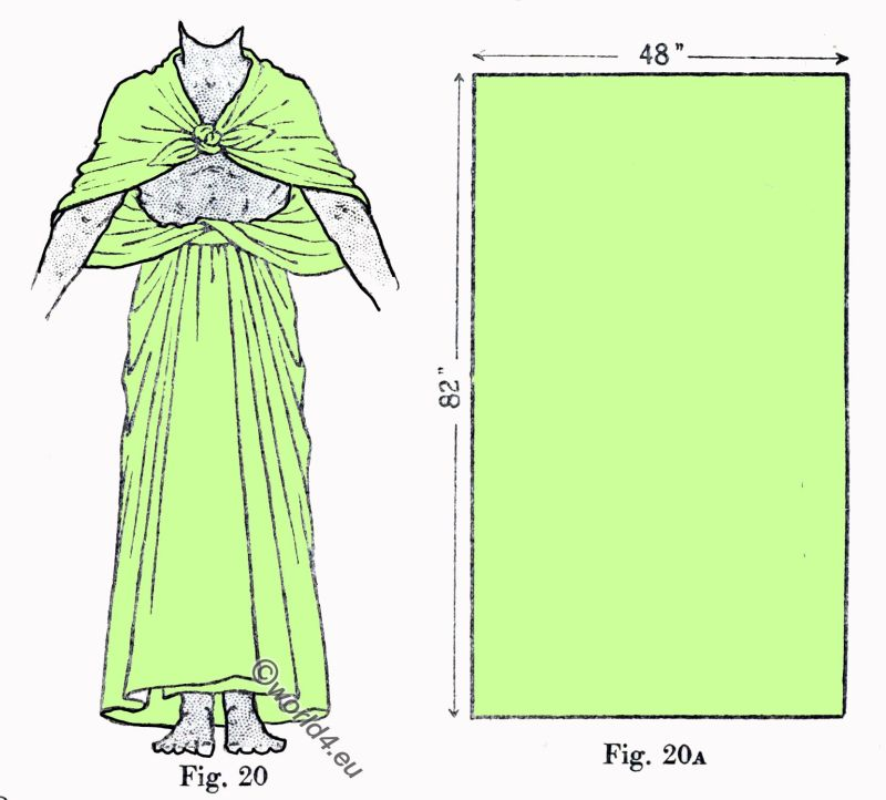Ancient, Egyptian, costume, Draping, Cloak