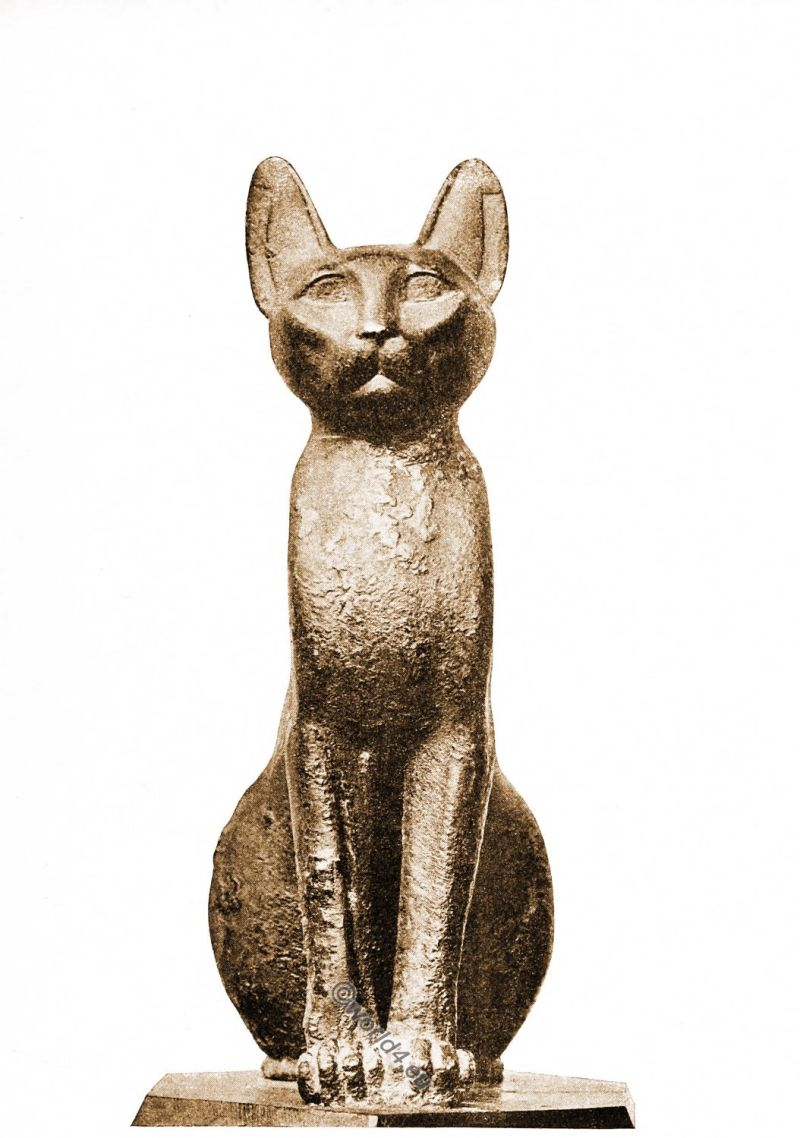 Ancient, Egyptian, Bronze, cat,