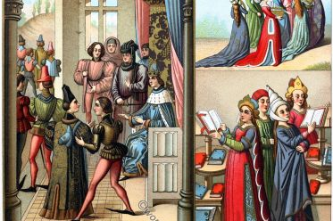 Froissart, medieval, painting, costumes, Auguste Racinet