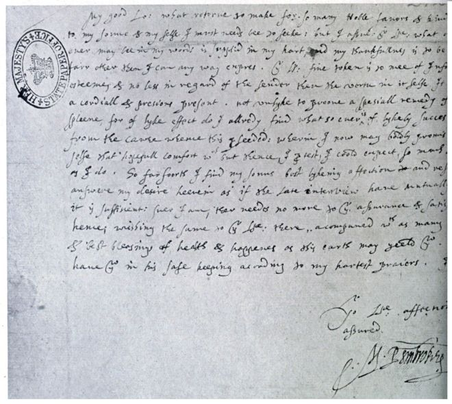 Holograph letter, Countess, Pemproke, Lord Burghley,