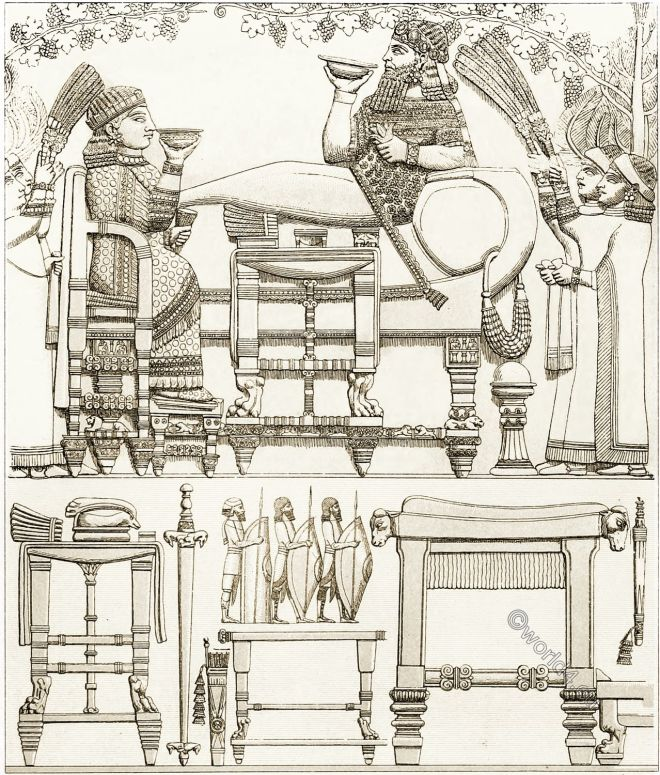 Assyrian-Babylonian, furniture, architecture, rulers, soldiers, weapons, slaves, customs,