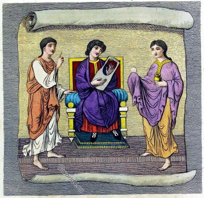 Ecclesiastical Habits, Anglo-Saxon, middle ages, England, costumes, Joseph Strutt