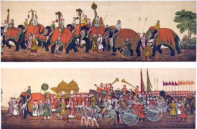 India, Mughal Empire, Procession, court, musicans