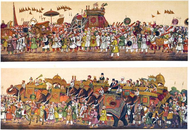 India, Mughal Empire, Emperor Akbar Shah II, Procession, court,