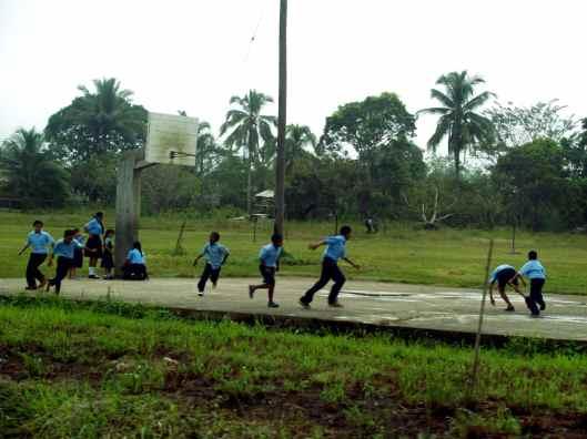 School kids on the road to San Ignacio Belize