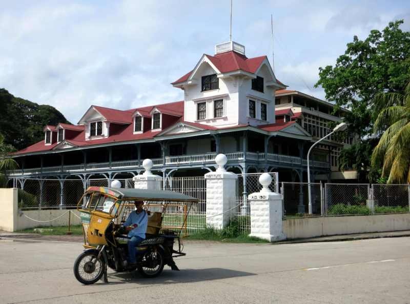 Siliman American university tricycle Dumaguete Negros Philippines