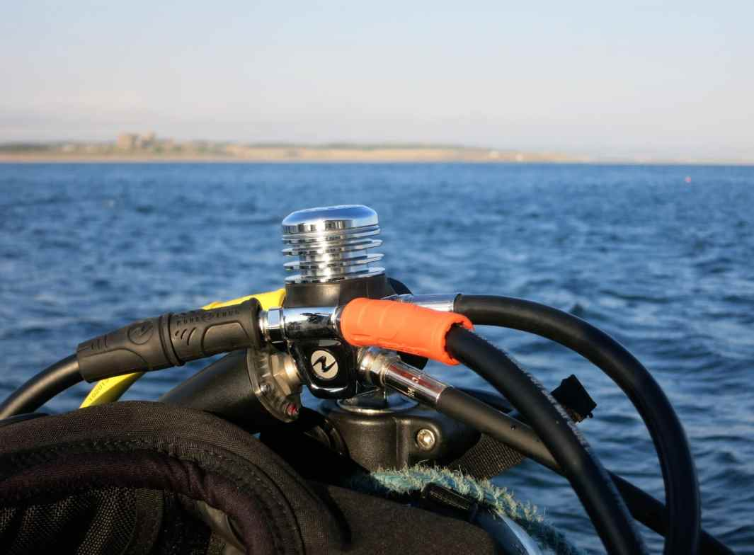 Regulator ready to dive with the seals of the Farne Islands