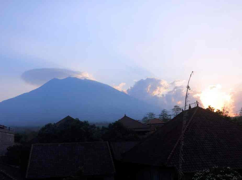Sunset Mount Agung Volcano Bali