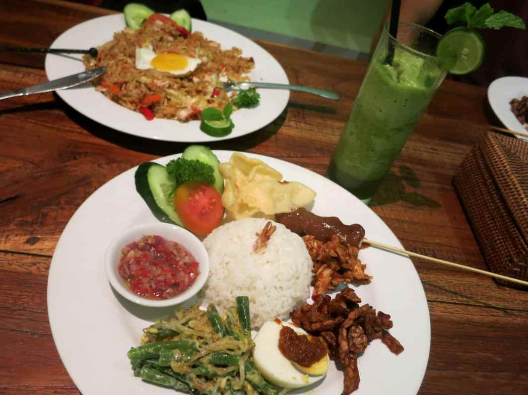 Nasi Campur delicious food of Ne Warung in Ubud Bali Indonesia