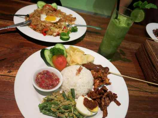 Nasi Campur delicious food of Ne Warung in Ubud Bali Indonesia