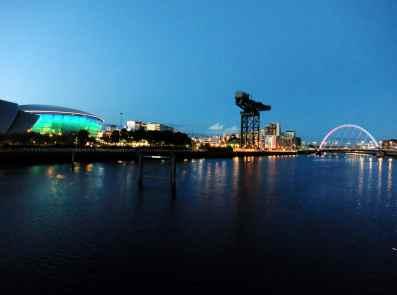 Clyde banks SSE Hydro Arc Bridge Glasgow at dusk Scotland