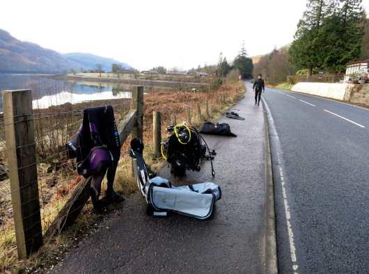 Scuba diving bag and gear - Conger Alley Loch Long Arrochar Scotland