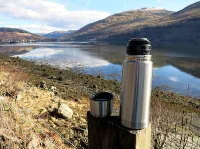 Well deserved warm tea Scuba diving Conger Alley Loch Long Arrochar Scotland
