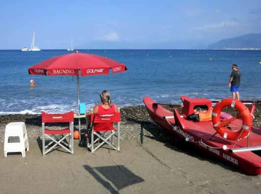 Beach of Sestri-Levante Liguria Italy