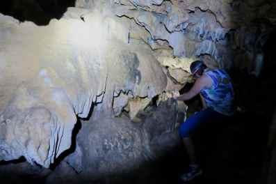 Exploring a bat cave Utila Honduras