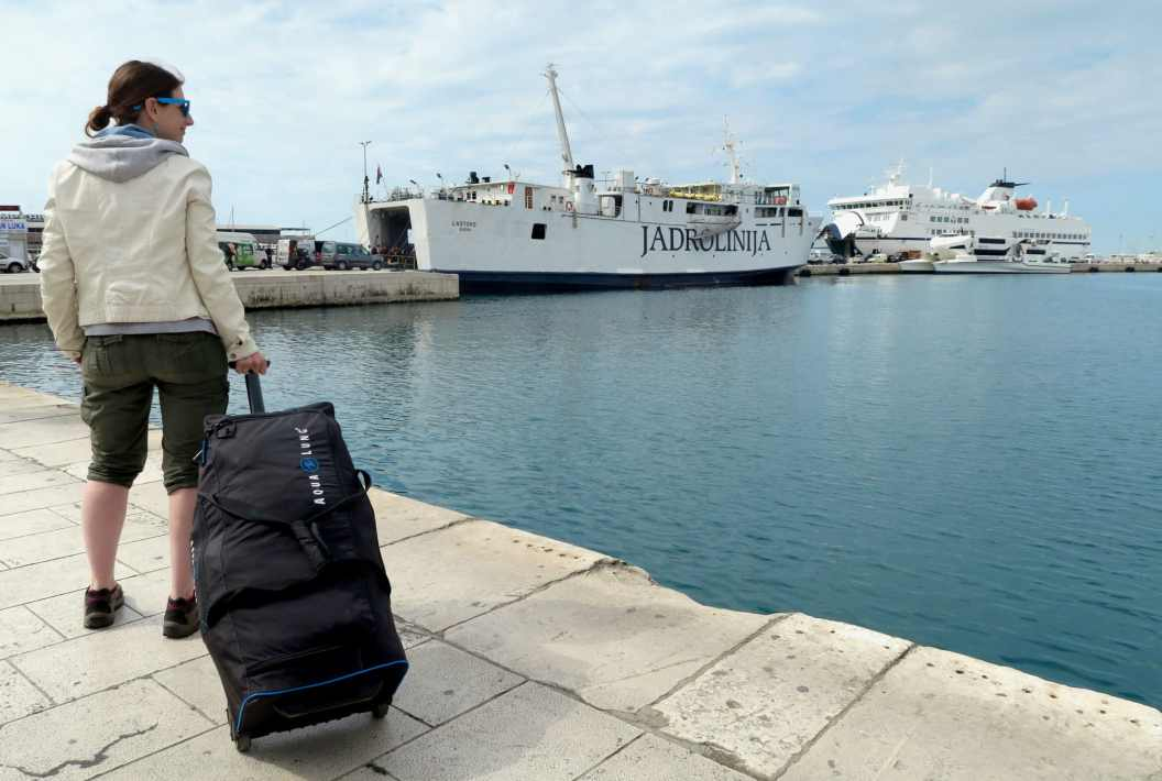 scuba diving bag - island hopping tour in Croatia with ferry