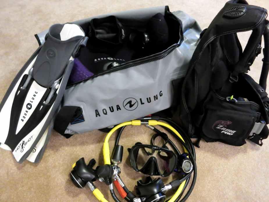My scuba diving bag in Scotland