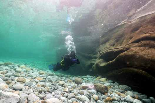 Pozzo dei Salti Scuba diving in Verzasca River Switzerland