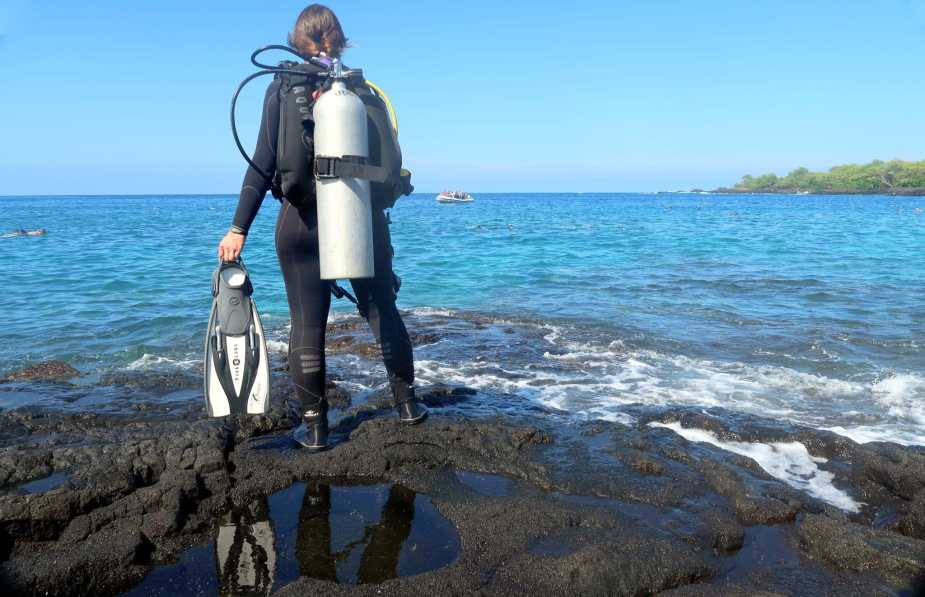 Shore diving in Big Island Hawaii