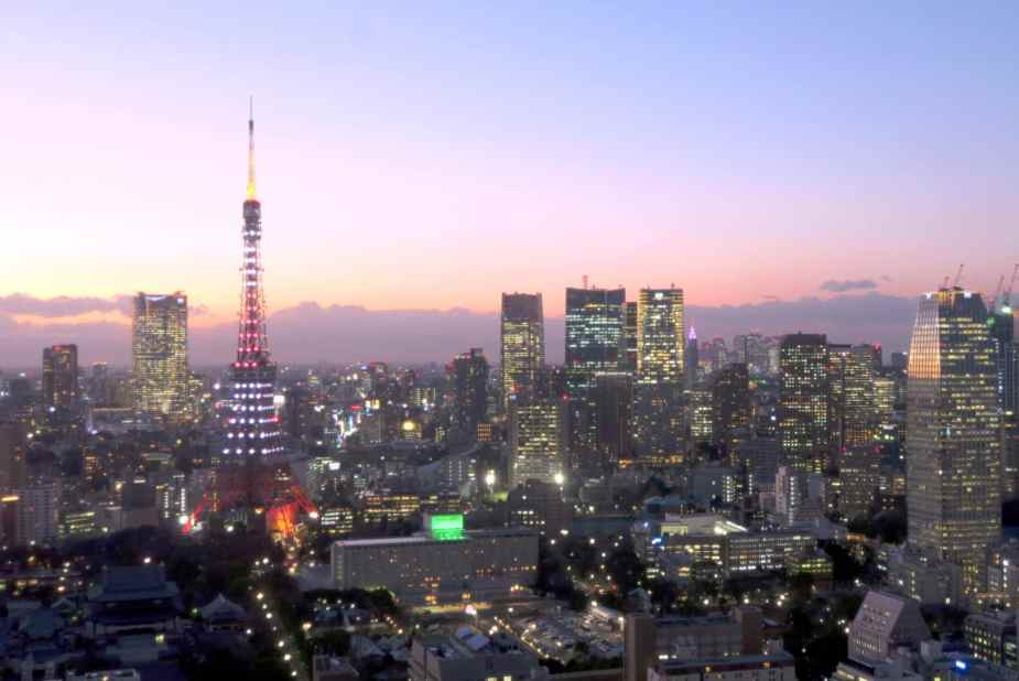 Tokyo Tower view at sunset from WTC Hamamatsucho Tokyo Japan