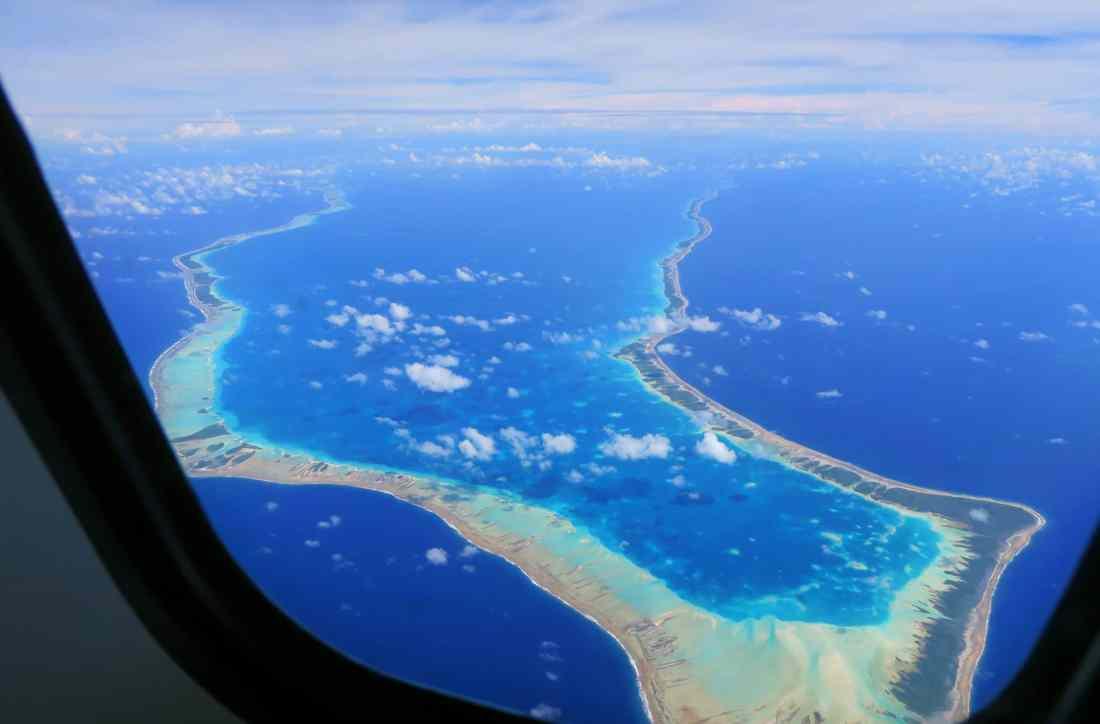 Rangiroa atoll sky view French Polynesia