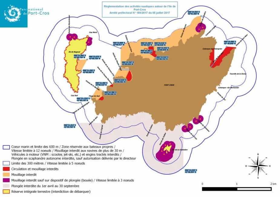 Carte Air Marine Activités Parc National de Port-Cros