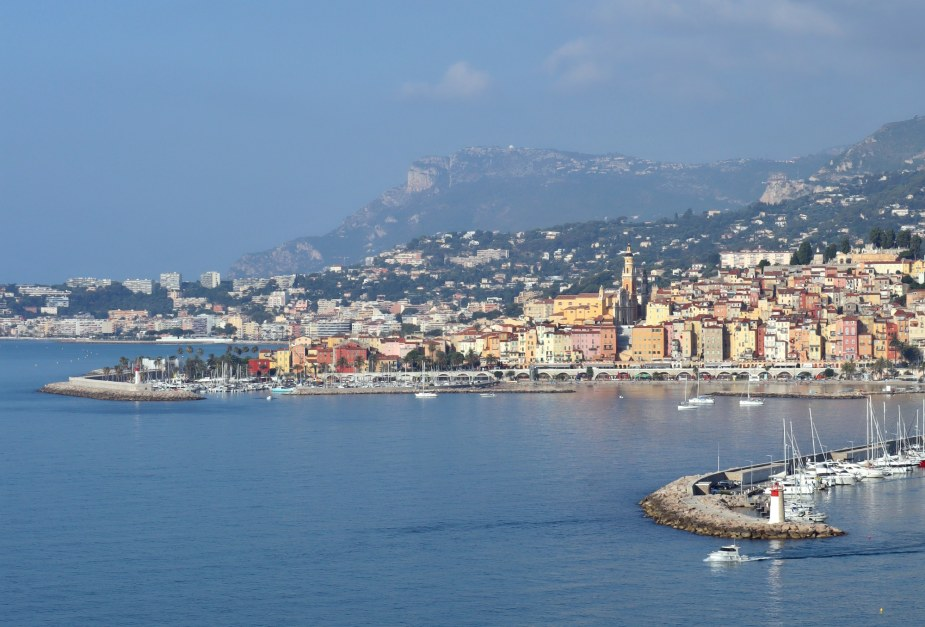 Menton view from Italian border French Riviera