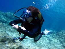 scuba diver crystal clear water kas Turkey
