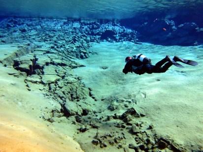 Scuba diver Silfra Iceland